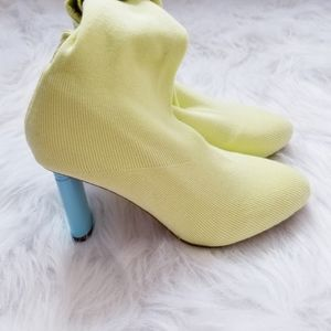 Yellow with blue heel sock boots